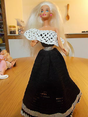 Crochet Fashion Doll Barbie Outfit-Holiday Gowns 3-#2-Doll Included