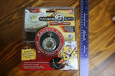 """Kansas City Railroad Pocket Watch with 26"""" Chain and Fob New In Package LOOK!"""
