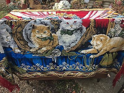 Large Vintage Italian Tapestry Rug 4 Cats Kittens Excellent