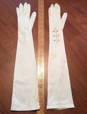 VINTAGE Long Over The Elbow OFF WHITE STRETCH RAYON NYLON GLOVES West Germany