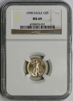 1998 Gold Eagle $5 Tenth-Ounce MS 69 NGC 1/10 oz. Fine Gold