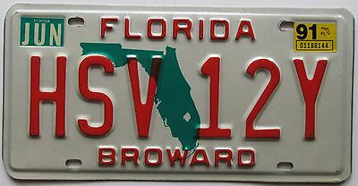 Florida 1991 BROWARD COUNTY License Plate SUPERB QUALITY # HSV 12Y