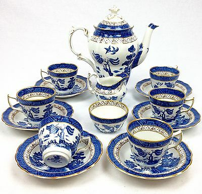 Booths Real Old Willow Coffee Set Vintage Blue And White Collectable