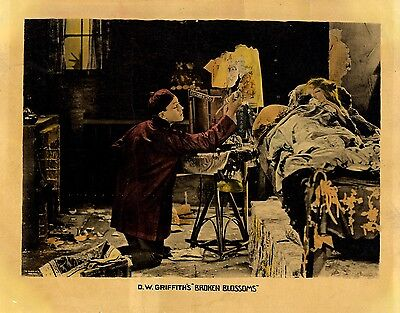 BROKEN BLOSSOMS (1919) Hand-colored lobby card ft. Barthelmess and Gish RARE VG-