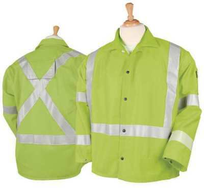 Black Stallion Flame Resistant Jacket, Hi-Vis Lime, Cotton, XL, JF1012-LM