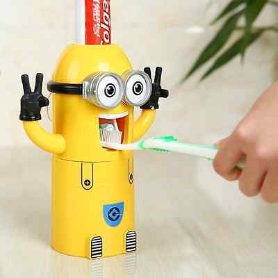 VIVISKY Wall-Mounted 2 Eyes Minions Toothpaste Dispenser and Toothbrush Holder S