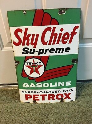 1959 Porcelain Sky Texaco Chief Gas Oil Advertising Sign Pump Plate