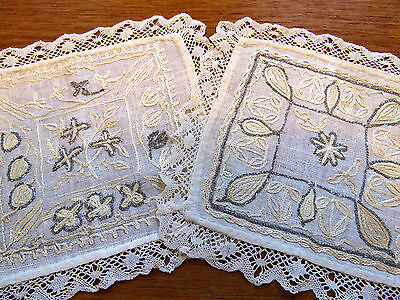 Antique Doilies Doily Coasters Embroidered Linen Victorian English Table Mats