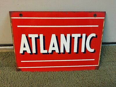 Original Porcelain Atlantic Gas Oil Advertising Sign Pump Plate