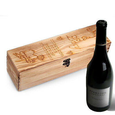 Personalised Wooden Wine Gift Box Christmas New Year Champagne Prosecco Bottle