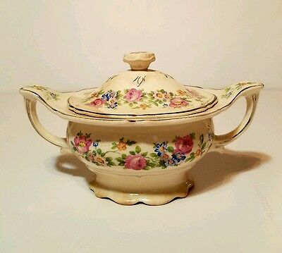 Antique 1934 Edwin M. Knowles Covered Sugar Bowl Rose Pattern