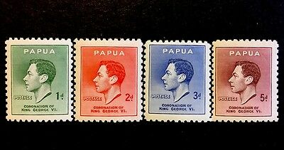 ASstamps Papua 1937 King George VI Coronation Set MNH SC#118-121