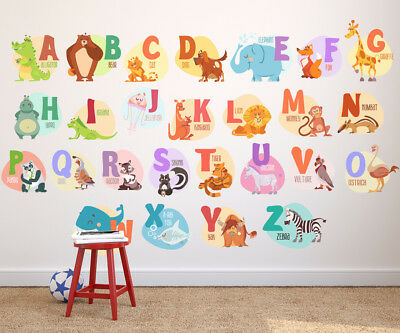 Animal Wall Decals, Animal Alphabet Wall Decals,Letter Wall Decals,Alphabet wall