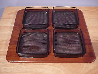 """12"""" DIGSMED DENMARK 4 SECTION TEAK WOOD TRAY with Glass Inserts"""