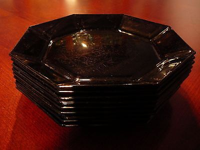 """9 vintage ARCOROC OCTIME BLACK GLASS LUNCH PLATES 8 5/8"""" hard to find size"""