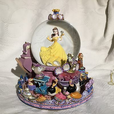 Disney Beauty & the Beast BE OUR GUEST Rotation Base Fig Musical Snow Globe-MIB