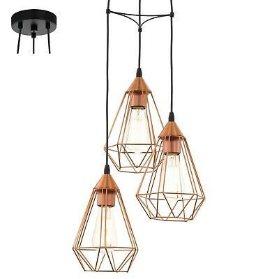 Pendant Ceiling Light Copper Or Black Wire Cage Industrial - By Eglo Of Austria