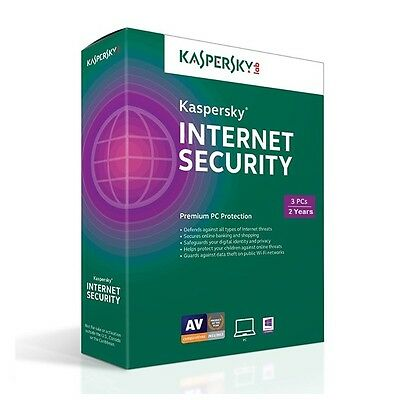 Kaspersky Internet Security 2017 3 PC 2 Year for Windows PC AUS NZ (No CD)