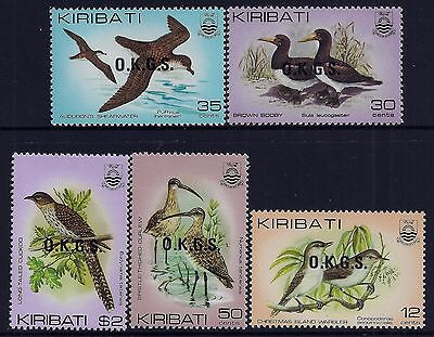 1983 Kiribati Birds With Official Overprints Set Of 5 Fine Mint Mnh
