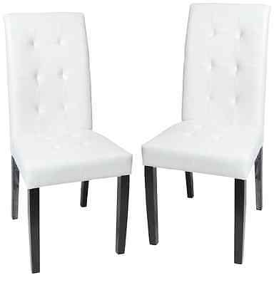 Roundhill Solid Wood Leatherette Padded Parson Stitches Design Chair, White, Set