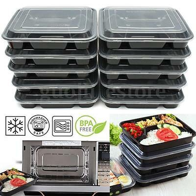 20pcs Meal Prep Containers Plastic Food Storage Reusable Microwavable Lunch Box