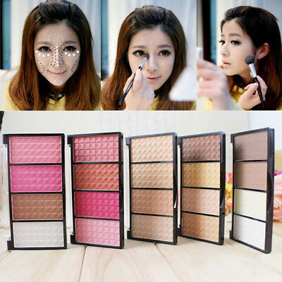 4 Colors Face Make Up Cosmetic  Highlight Contour Blusher Pressed Powder Palette