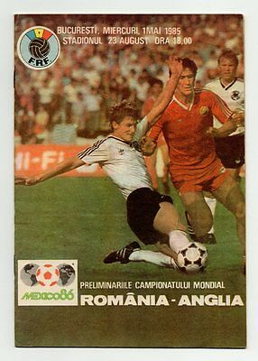 Romania V England 1985 World Cup Qualifier Official Programme