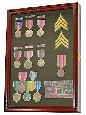 Military Display Case Wood Cabinet Medal Pins Patches Ribbons Flag Shadow Box