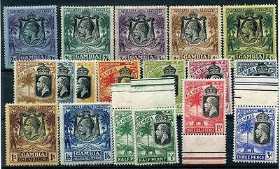 Gambia 1922-29 Script short set to 5s SG122/42 (exc 7½d) MM/MNH cat £175