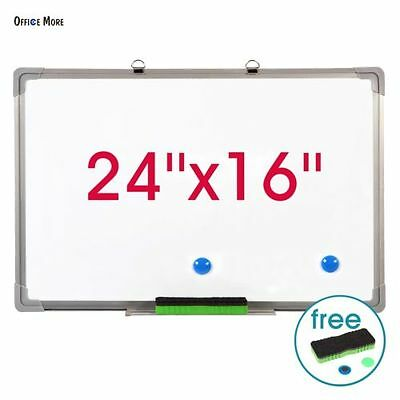 "Single Side 24""x16"" Magnetic Writing Whiteboard Dry Erase Board Office W/ Eraser"