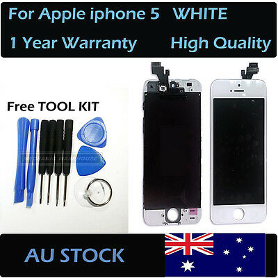WHITE Front glass touch screen and LCD display digitizer for Apple iphone 5 AU