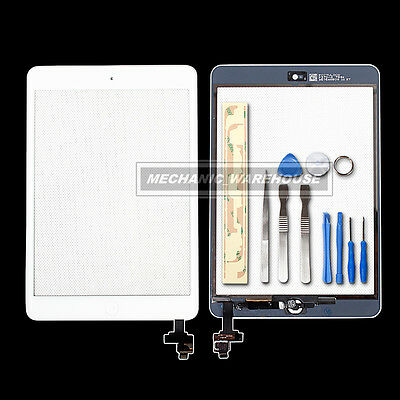 iPad Mini 1 & 2 GLASS TOUCH SCREEN DIGITIZER IC Chip Home Button Adhesive White