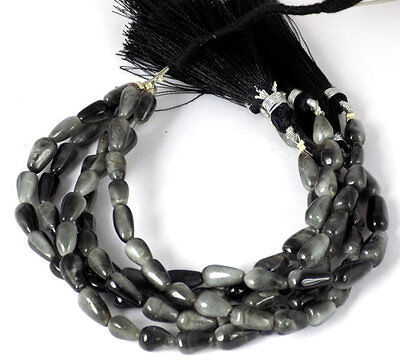 """5 Strands AAA Natural Black Cats Eye Tear Drop 5x8-6x12mm 7"""" Long Smooth Beads"""