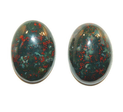 Bloodstone 13x18mm Cabochon with 5.5mm dome from India set of 2 (11754)
