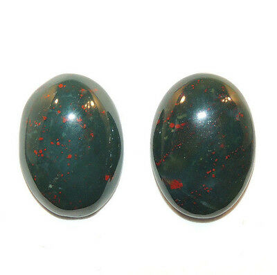 Bloodstone 13x18mm Cabochon with 5.5mm dome from India set of 2 (11758)