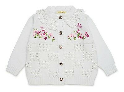 "White ""vintage Flower"" Cotton Knit Hand-Embroidered Crochet Collar Cardigan"