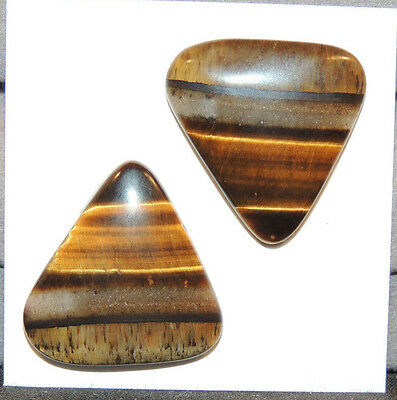 Tiger's Eye 21.5x21mm Cabochon with 4.5mm dome From Australia Set of 2 (11760)