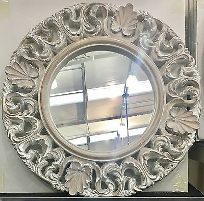 LARGE White Washed Wood Ornate Round Baroque Esk Wall Mirror NEW Hall Bedroom