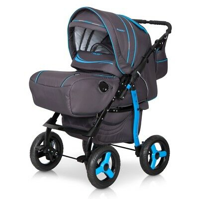 2in1 Pushchair RACER Pram Stroller Buggy Complete Set Combo Canopy Foot Cover