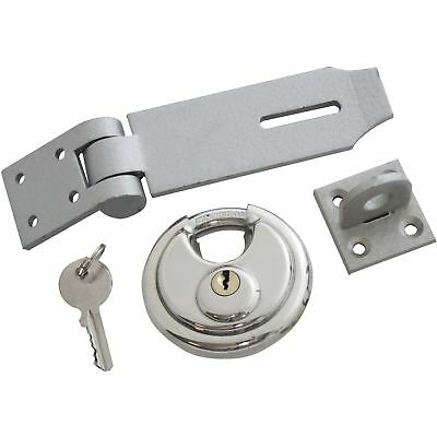 Am Tech 70mm Disc Padlock with Hasp Heavy Duty Security Set