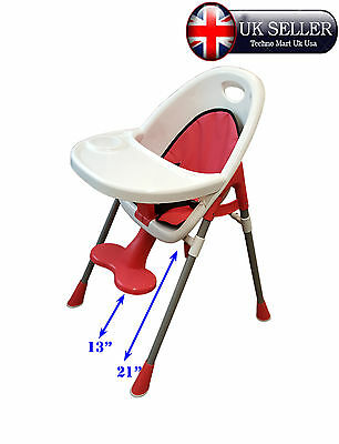 Red Baby Highchair Safety Comfort Folding Adjustable Feeding Chair Padded Seat