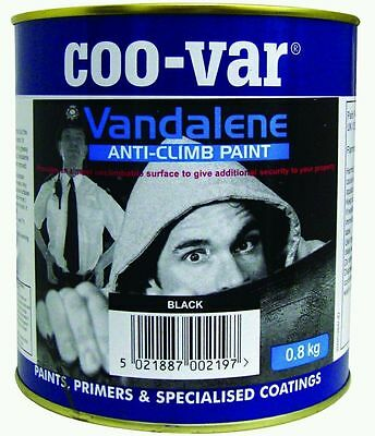 Coo-Var Vandalene  Non Anti Climb Paint Black 0.8kg Secure Property Walls Fence