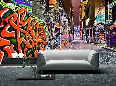 Night view of Graffiti  Wall Mural Photo Wallpaper GIANT WALL DECOR Paper Poster