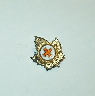 Vintage sterling silver gilt enamel RED CROSS insignia MAPLE LEAF PIN C. Lamond