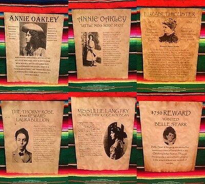 6 Old West Wanted Posters Outlaw Women Annie Oakley Belle Starr Western