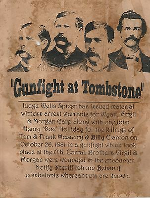 O K Corral~(I Combine Shipping)Old West,wanted,poster,tombstone,ok Corral,earp