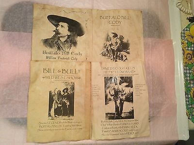 4 Old West Wanted Posters Buffalo Bill Scout Army Wild West Western