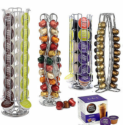 Dolce Gusto Nespresso 360 Rotating Coffee Capsule Holder Pod Tower Stand Rack Uk
