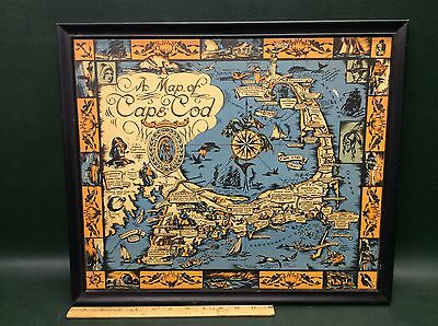 Vintage Map of Cape Cod Published by Town Crier Shop, Provincetown 1930 Framed