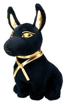 Qbi Egyptian Super Cute Plush Doll Anubis Puppy Hound Afterlife Black And Gold